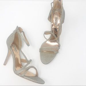 Badgley Mischka Glitter Strappy Heels Size 9.5